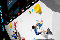 Tomoa Narasaki of Japan during Man's bouldering semifinal at the IFSC Climbing World Championships Innsbruck 2018, on September 15, 2018 in OlympiaWorld Innsbruck, Austria, Slovenia. Photo by Urban Urbanc / Sportida