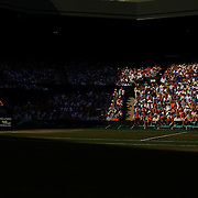 The forlorn figure of Great British tennis hope Andy Murray as he walks back to his chair after losing the third set tie break to  Andy Roddick, USA, who went on to win the Men's Singles Semi Final Match at the All England Lawn Tennis Championships at Wimbledon, London, England on Friday, July 03, 2009. Photo Tim Clayton.