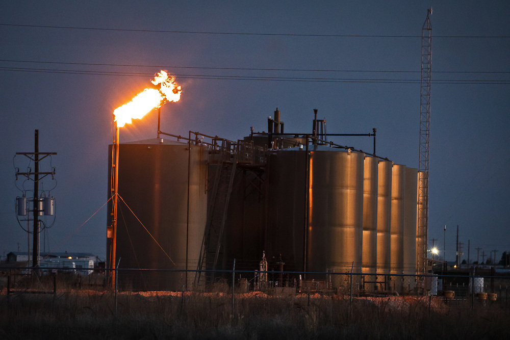 Oil and gas facility  flaring near the Penny and Carls home in New Mexico's Permain Basin