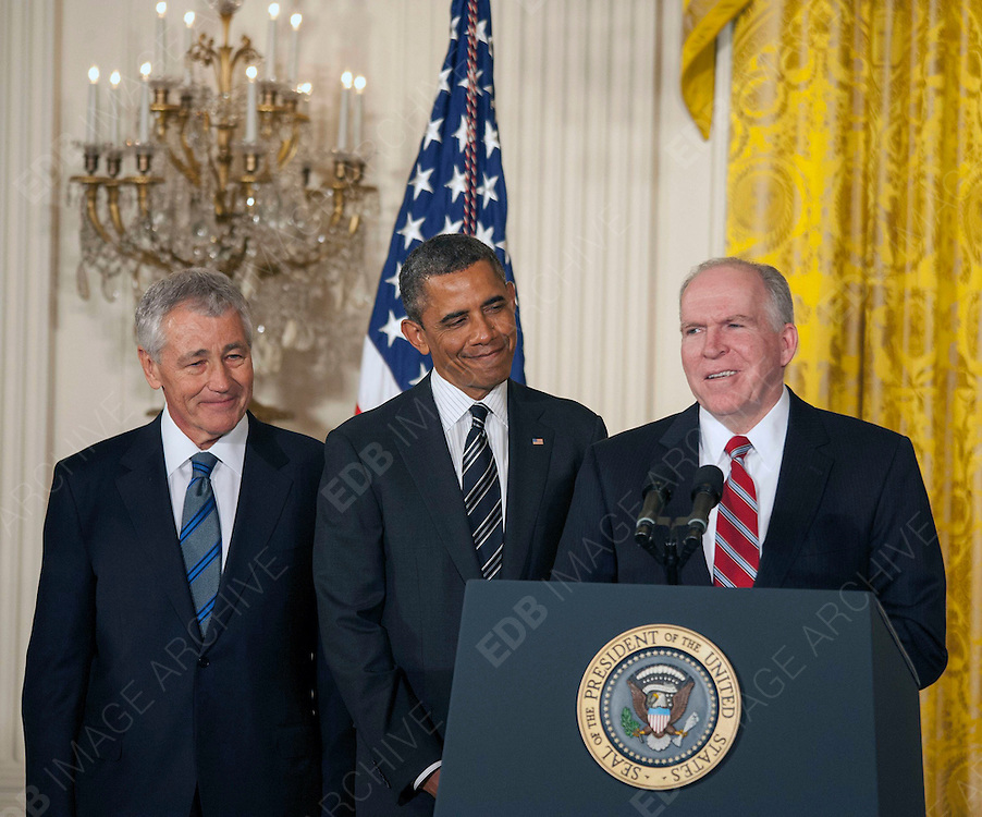 07.JANUARY.2013. WASHINGTON D.C.<br /> <br /> PRESIDENT BARACK OBAMA SHARES A LAUGH WITH SEC OF DEFENSE NOMINEE, SENATOR CHUCK HAGEL (LEFT) AND OUTGOING SEC OF DEFENSE, LEON PANETTA DURING A PRESS CONFERENCE AT THE WHITE HOUSE. <br /> <br /> BYLINE: EDBIMAGEARCHIVE.CO.UK<br /> <br /> *THIS IMAGE IS STRICTLY FOR UK NEWSPAPERS AND MAGAZINES ONLY*<br /> *FOR WORLD WIDE SALES AND WEB USE PLEASE CONTACT EDBIMAGEARCHIVE - 0208 954 5968*