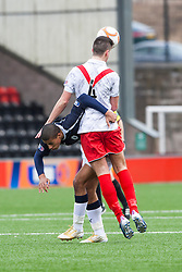 Airdrie United's Gregor Buchanan and Falkirk's Lyle Taylor..Airdrie United 0 v 1 Falkirk, 30/3/2013..©Michael Schofield..