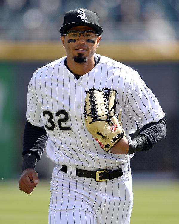 CHICAGO - APRIL 04:  Jacob May #32 of the Chicago White Sox looks on against the Detroit Tigers on April 04, 2017 at Guaranteed Rate Field in Chicago, Illinois.  The Tigers defeated the White Sox 6-3.  (Photo by Ron Vesely)   Subject:  Jacob May