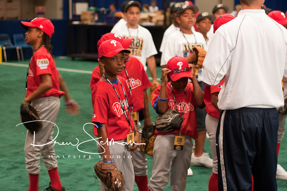 Jr. RBI Players from Philadelphia visit the 2009 All Star Game Fan Fest and a special RBI Clinic with guest host Will Clark of the San Francisco Giants