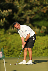Former Ohio State head football coach Urban Myer putts prior to  the Chick-fil-A Peach Bowl Challenge at the Ritz Carlton Reynolds, Lake Oconee, on Tuesday, April 30, 2019, in Greensboro, GA. (Chris Collins via Abell Images for Chick-fil-A Peach Bowl Challenge)