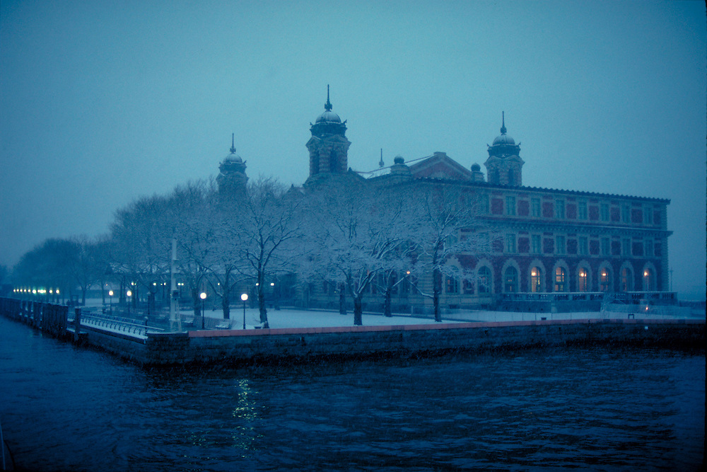 Ellis Island, New York City, New York, Statue of Liberty Nationl Monument, snow in winter