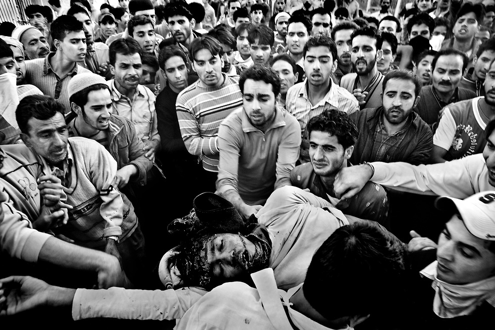 10.10.2008, India, Kashmir, Srinagar, During a protest against the Indian Forces a  boy got killed by a shot in the head by a soldier of the Indian Forces.
