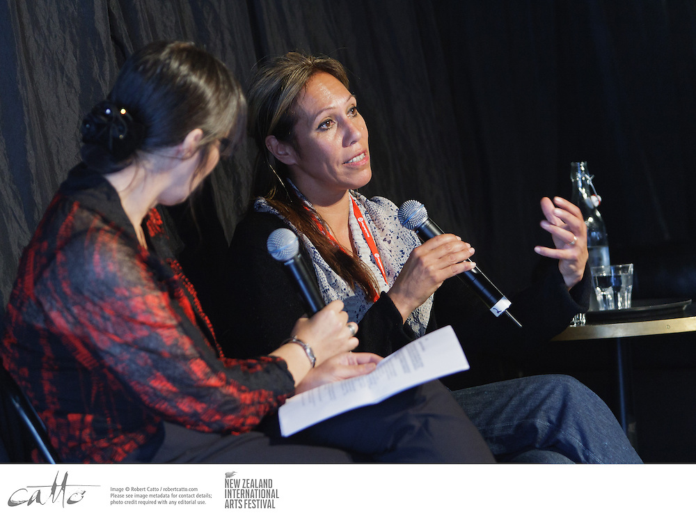 Masi director Nina Nawalowalo talks to interested audience members at the New Zealand International Arts Festival Art Talks series.
