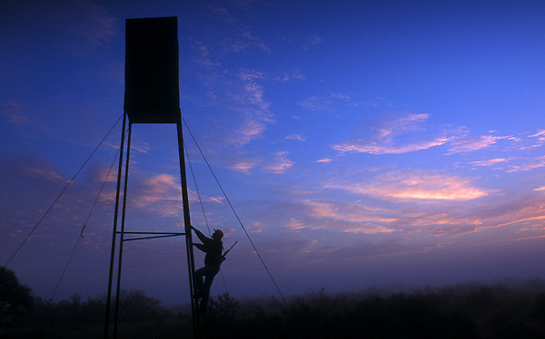 Stock photo of a hunter climbing into a deer blind at sunrise