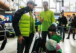 Luka Gracnar and David Rodman during departure of Slovenia Olympic Team for PyeongChang 2018, on February 6, 2018 in Airport Joze Pucnik, Brnik, Slovenia. Photo by Morgan Kristan / Sportida