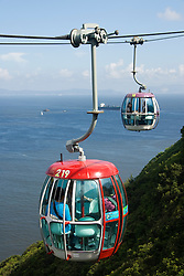Visitor cable car taking tourists to Ocean Park amusement park in Hong Kong