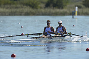 Varese,  ITALY. 2012 FISA European Championships, Lake Varese Regatta Course. ..GBR LM2X, Bow Chris BODDY and Michael MOTTRAM at the start of their heat of the Men's lightweight Sculls..11:30:13  Friday  14/09/2012.....[Mandatory Credit Peter Spurrier:  Intersport Images]  ..2012 European Rowing Championships Rowing, ..Rowing, European,  2012 010726.jpg....
