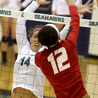 UNCW's Sydney Brock defends against Eastern Washington's Kellen Barfield in the Hilton Garden Inn Wilmington Mayfaire Classic Sunday August 31, 2014 at Hanover Hall in Wilmington, N.C. (Jason A. Frizzelle)