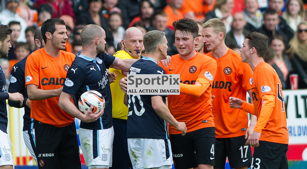 Dundee United v Dundee, SPFL Premiership, Tannadice Park, 24 May 2015<br />James McAlister gets involved in a confrontation during the final Dundee derby of the 2014/15 season at Tannadice Park.<br />ROSS PARKER | SportPix.org.uk
