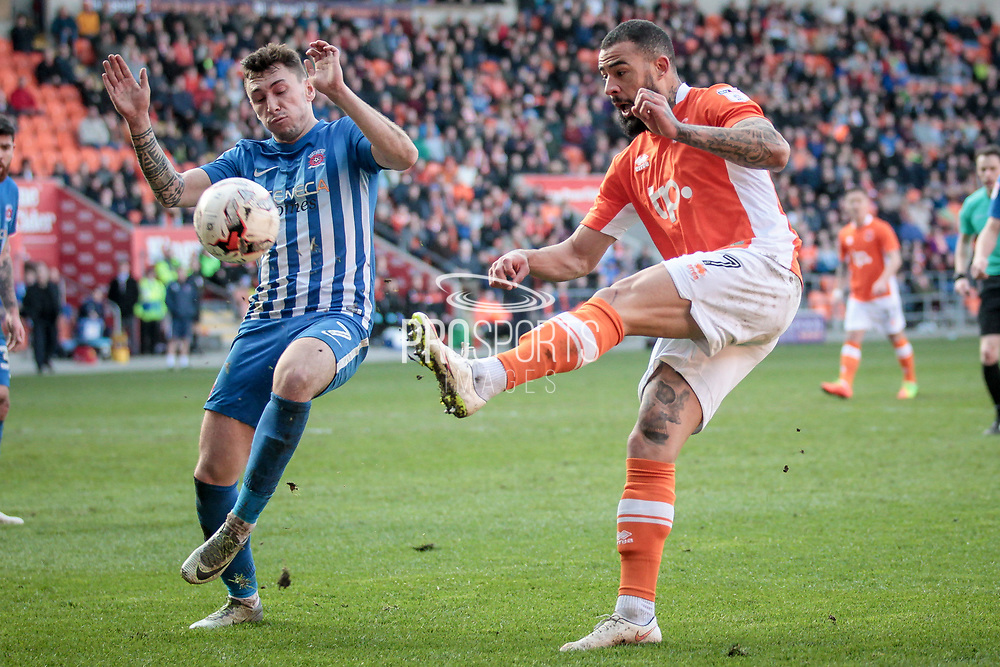 Kyle Vassell (Blackpool) strikes the ball having had his back to the goal, twisting and sending a goal bound effort inside the far post to make it 2-1 to the home side and collect all three points for Blackpool during the EFL Sky Bet League 2 match between Blackpool and Hartlepool United at Bloomfield Road, Blackpool, England on 25 March 2017. Photo by Mark P Doherty.