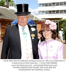 MR & MRS ARCHIE STIRLING at Royal Ascot on 19th June 2002.	PBD 47