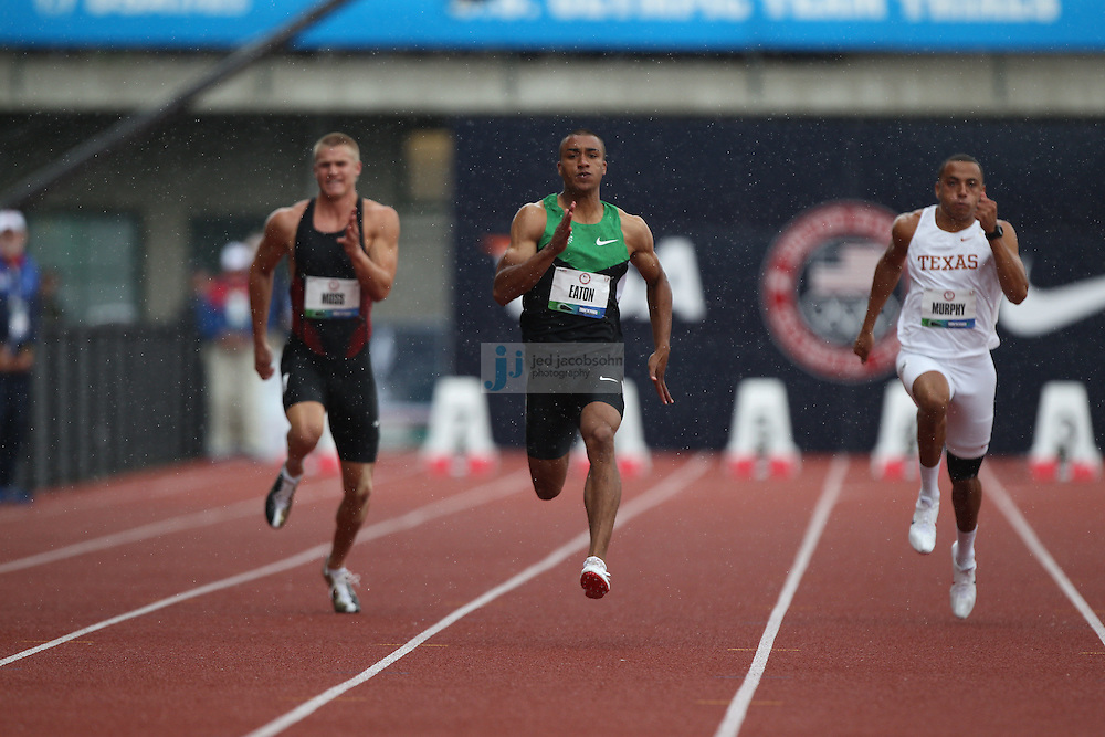 Ashton Easton runs in his heat for the 100m dash past Miller Moss (L) and Isaac Murphy during the Decathlon during day 1 of the U.S. Olympic Trials for Track & Field at Hayward Field in Eugene, Oregon, USA 22 Jun 2012..(Jed Jacobsohn/for The New York Times)...