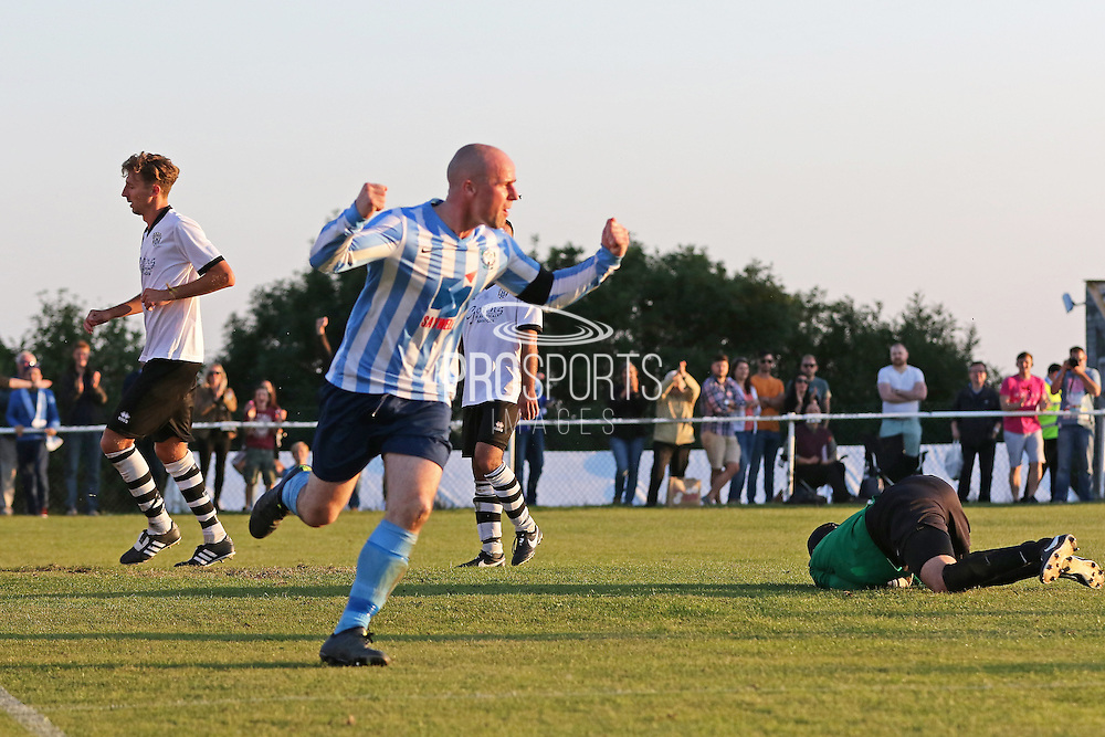 Sam Blundell of Worthing scores to put his side 2-1 up during before the FA Vase 1st Qualifying Round match between Worthing United and East Preston FC at the Robert Eaton Memorial Ground, Worthing, United Kingdom on 6 September 2015. Photo by Phil Duncan.