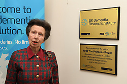 March 21, 2019 - London, London, United Kingdom - Princess Anne visits UK Dementia Research Institute at UCL. Her Royal Highness The Princess Royal visit's  the UK Dementia Research Institute's hub at UCL to learn about the institute's ground-breaking neuroscience research During the visit, The Princess met with senior academics to hear about their vision for the UK Dementia Research Institute (UK DRI), toured one of  the new laboratories and learned about some of the cutting-edge research at the institute. .During the visit, The Princess met with senior academics to hear about their vision for the UK Dementia Research Institute (UK DRI), toured one of the new laboratories and learned about some of the cutting-edge research at the institute. .ÒWe were delighted to welcome HRH Princess Royal to the UK DRI labs at UCL to present our vision of a world where research beats dementia,Ó said Dr Adrian Ivinson, Director of Operations, UK Dementia Research Institute..ÒWe showed the Princess Royal microscopes, cells and brains, our early career scientists described their research, and some of our recent recruits discussed the importance of a free flowing international community of researchersÑall essential ingredients if we are to conquer dementia.Ó.The UK Dementia Research Institute, the UKÕs biggest ever investment in dementia research, was launched in 2017 with core funding from three founding partners: the Medical Research Council, Alzheimer's Society and Alzheimer's Research UK..With its hub at UCL, the UK DRI is made up of hundreds of world-leading academics, whose work is helping benefit the lives of millions of people living with dementia now and in the future.  .The UK DRI was set up to find scientific solutions to one of society's biggest health challenges; over 1 million people are expected to have dementia in the UK by 2025..The five other universities that make up the UK DRI are: University of Cambridge, Cardiff University, University of E
