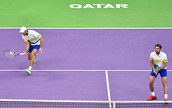 Jeremy Chardy (R) and Fabrice Martin (L) of France in action against Vasek Pospisil of Canada and Radek Stepanek of Czech Republic during the ATP Qatar Open Tennis tournament doubles final at the Khalifa International Tennis Complex in Doha, capital of Qatar, on January 06, 2017. Jeremy Chardy and his teammate Fabrice Martin became won the title 2-0. (Credit Image: © Nikku/Xinhua via ZUMA Wire)