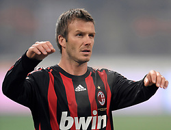 David Beckham makes his home debut for AC Milan during the<br /> Italian Serie A match against Fiorentina on January 17, 2009 at San Siro Stadium in Milan. AC Milan defeated Fiorentina 1-0.