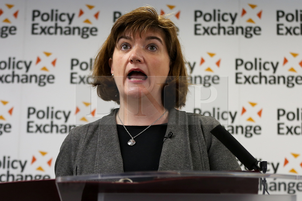 © Licensed to London News Pictures. 05/02/2020. London, UK. Secretary of State for Digital, Culture, Media and Sport, BARONESS NICKY MORGAN speaks at a Policy Exchange event in Westminster on the 'The Future of Media and Broadcasting'. Photo credit: Dinendra Haria/LNP