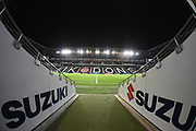 Stadium MK viewed from the players tunnel during the EFL Trophy match between Milton Keynes Dons and Wycombe Wanderers at stadium:mk, Milton Keynes, England on 12 November 2019.