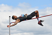 Jeron Robinson (USA) clears the bar at 7-2 1/4 (2.19m) during the Birmingham Grand Prix, Sunday, Aug 18, 2019, in Birmingham, United Kingdom. (Steve Flynn/Image of Sport via AP)