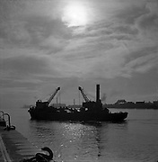 An early morning view on the river at Dublin Docks.20/05/1957Irish  old photos  of Dublin Docks,  Ireland
