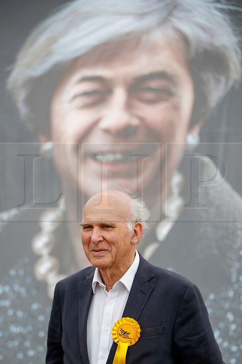 © Licensed to London News Pictures. 20/05/2017. London, UK. Former Business Secretary VINCE CABLE launches Liberal Democracts' new election poster at Twickenham Rugby Football Club in west London on Saturday, 20 May 2017. Photo credit: Tolga Akmen/LNP