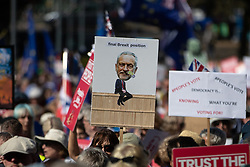 "© Licensed to London News Pictures . 21/09/2019. Brighton, UK. Placard depicting Labour leader Jeremy Corbyn sitting on a fence described as his "" final Brexit position "" . Thousands attending a march organised by the People's Vote for a second EU referendum on Brexit pass through Brighton and along the Promenade during the first day of the 2019 Labour Party Conference from the Brighton Centre . Photo credit: Joel Goodman/LNP"