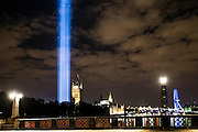 The London light installation for LIGHTS OUT looms above Westminster - 'Spectra' by Ryoji Ikeda, was designed to be able to be seen across the city and appeared at 10 pm as part of a series of art commissions. 14-18 NOW, the official cultural programme for the WW1 centenary commemorations, has organised a number of events to mark the centenary. As part of that, LIGHTS OUT is a nationwide event which are taking place at hundreds of venues, churches, war memorials and iconic buildings across the country on 4 August between 10pm and 11pm.