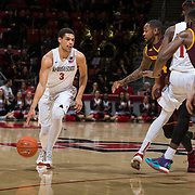 10 December 2016: The San Diego State Aztecs men's basketball team host's Saturday afternoon at Viejas Arena. San Diego State guard Trey Kell (3) looks to drive the ball into the lane in the second half. The Aztecs fell to the Sun Devils 74-63. www.sdsuaztecphotos.com