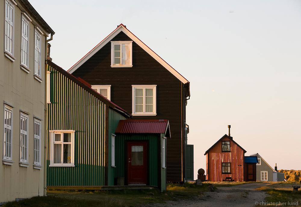 Hús í Flatey á Breiðafirði..Houses on island Flatey in Breidafjordur.