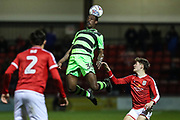 Forest Green Rovers Isaiah Osbourne(34) heads the ball during the EFL Sky Bet League 2 match between Crewe Alexandra and Forest Green Rovers at Alexandra Stadium, Crewe, England on 20 March 2018. Picture by Shane Healey.