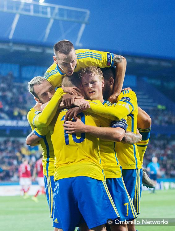 PRAG 20150627<br /> U21 LANDSLAG EM-SEMIFINAL DANMARK VS SVERIGE<br /> JUBEL N&Auml;R JOHN GUIDETTI GJORT 01-