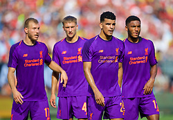CHARLOTTE, USA - Sunday, July 22, 2018: Liverpool's Ragnar Klavan, Nathaniel Phillips, Dominic Solanke and Joe Gomez during a preseason International Champions Cup match between Borussia Dortmund and Liverpool FC at the  Bank of America Stadium. (Pic by David Rawcliffe/Propaganda)