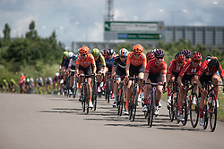 The front of the peloton on Stage 2 of 2019 OVO Women's Tour, a 62.5 km road race starting and finishing in the Kent Cyclopark in Gravesend, United Kingdom on June 11, 2019. Photo by Balint Hamvas/velofocus.com