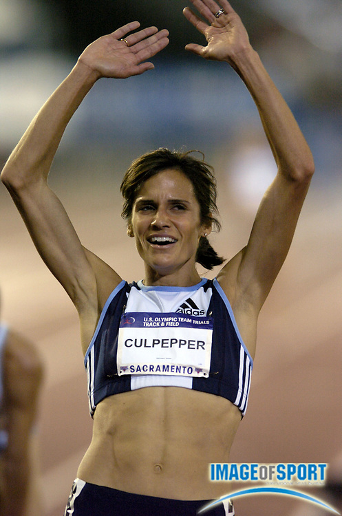 Jul 12, 2004; Sacramento, CA, USA; Shayne Culpepper celebrates after winning the women's 5,000 meters in 15:07.41 in the U.S. Olympic Track & Field Trials at Cal State Sacramento's Hornet Stadium. Photo by Image of Sport
