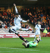 Motherwell&rsquo;s Connor Ripley saves from Dundee&rsquo;s Kane Hemmings - Motherwell v Dundee - Ladbrokes Premiership at Fir Park<br /> <br /> <br />  - &copy; David Young - www.davidyoungphoto.co.uk - email: davidyoungphoto@gmail.com