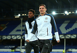 Demarai Gray, and Marc Albrighton of Leicester City arrive at Goodison Park for the Premier League Match against Everton - Mandatory by-line: Robbie Stephenson/JMP - 31/01/2018 - FOOTBALL - Goodison Park - Liverpool, England - Everton v Leicester City - Premier League