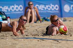 23-08-2019 NED; DELA NK Beach Volleyball Qualification, Scheveningen<br /> First day NK Beachvolleyball / (L-R) Nadine Everaert,<br /> Serena van der Made