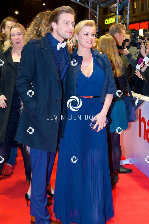 AMSTERDAM - In het Tuschinski theater is de nieuwe Nederlandse film 'Harten Straat' in premiere gegaan. Met op de rode loper   Bridget Maasland en Jelle de Jong. FOTO LEVIN DEN BOER - PERSFOTO.NU