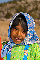 Tarahumara Indian girl wearing colorful native costume, Ejido San Alonso, Copper Canyon (near San Rafael), Mexico