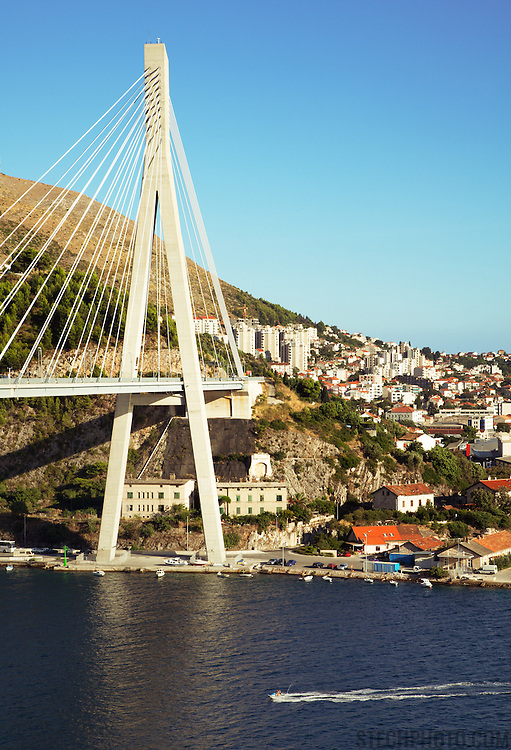 A view of the Franjo Tudman Bridge crossing the Rijeka Dubrovacka Inlet and connecting to Dubrovnik, Croatia. It was designed in the early 1990's by the Structures Department of the University of Zagreb (Faculty of Civil Engineering) and by Zlatko Savor.