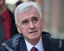 © Licensed to London News Pictures . 20/04/2016 . Preston , UK . Shadow Chancellor JOHN MCDONNELL arrives to announce plans by the Labour Party to support cooperatives and employee ownership , at a speech at the employee-owned TAS Partnership , Guildhall House in Preston . Photo credit: Joel Goodman/LNP