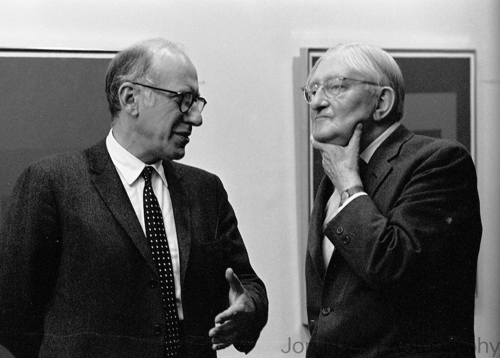 "Good friends cartoonist Saul Steinberg and Josef Albers at exhibition of Albers paintings. Published in Jon Naar's ""Getting the Picture,"" 2005.  Talem with a 35 mm Nikon FM in 1972."