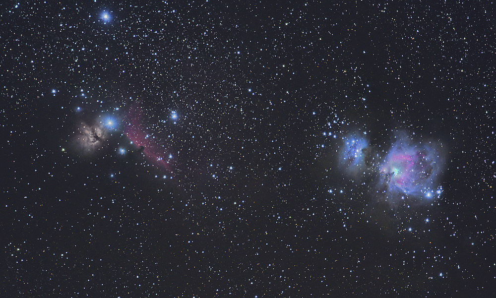 This is a small section of the Orion molecular cloud complex. From left to right: the flame (NGC2024), horsehead (Barnard 33), running man (M43), and the great orion (M42) nebulae.<br /> <br /> 85 x 45 secs subs at 200mm, f/4, ISO 3200. The trapezium is hand blended with 15 x 10 secs subs. Cropped from 24MP to 8MP.