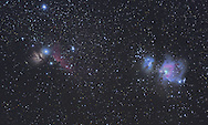 This is a small section of the Orion molecular cloud complex. From left to right: the flame (NGC2024), horsehead (Barnard 33), running man (M43), and the great orion (M42) nebulae.<br />