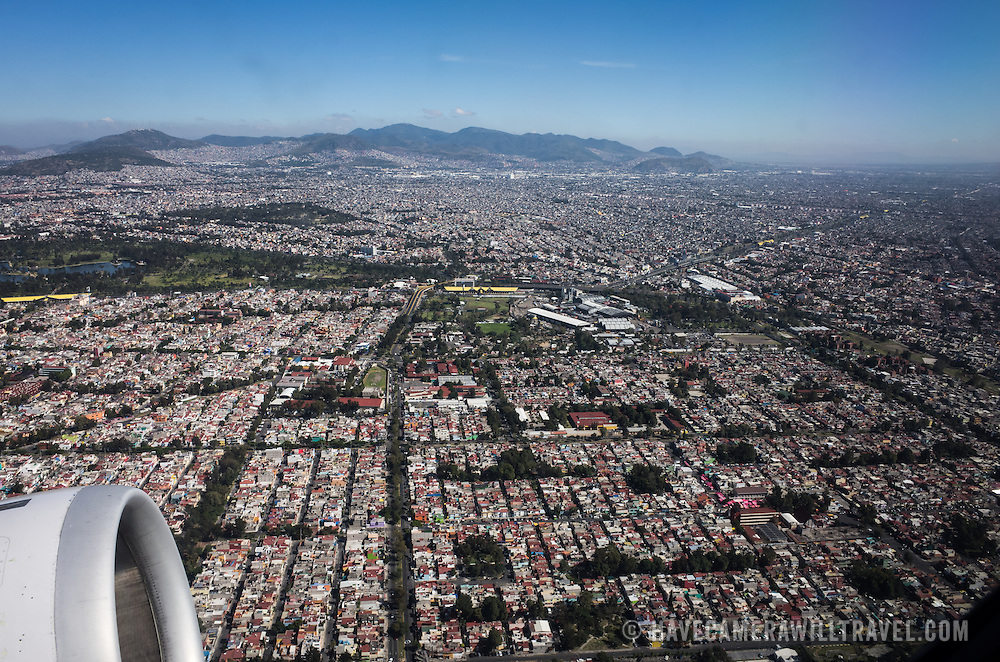 Mexico City from above, as seen from a plane taking off from the international airport.