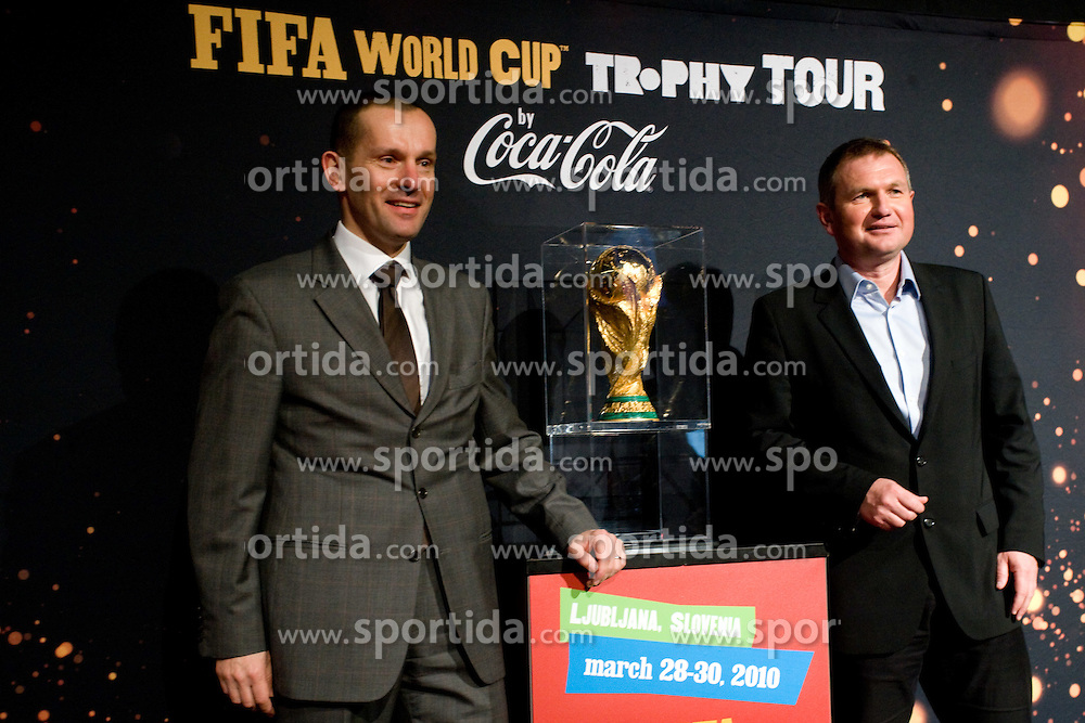 and Matjaz Kek at VIP reception of FIFA World Cup Trophy Tour by Coca-Cola, on March 29, 2010, in BTC City, Ljubljana, Slovenia.  (Photo by Vid Ponikvar / Sportida)